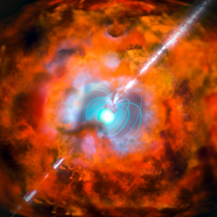 This artist's impression shows a supernova and associated gamma-ray burst driven by a rapidly spinning neutron star with a very strong magnetic field — an exotic object known as a magnetar. Observations from ESO's La Silla and Paranal Observatories in Chile have for the first time demonstrated a link between a very long-lasting burst of gamma rays and an unusually bright supernova explosion. The results show that the supernova following the burst GRB 111209A was not driven by radioactive decay, as expected, but was instead powered by the decaying super-strong magnetic fields around a magnetar.